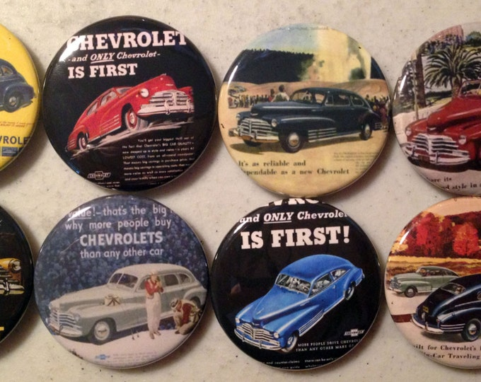 8 Chevy fleetline buttons, available as pinback, flatbacks, magnets etc. Several button sizes to choose from.