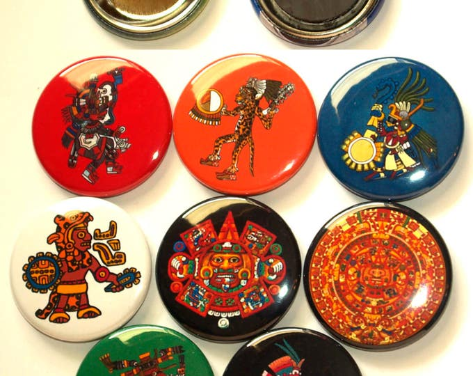 8 Aztec Buttons.  Your choice of pinbacks, flatbacks or magnet buttons