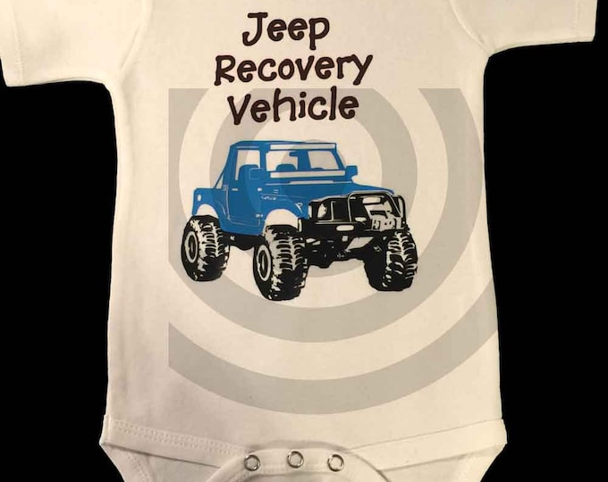 Suzuki Samurai Jeep Recovery vehicle Baby Onesies, several sizes and colors to choose from