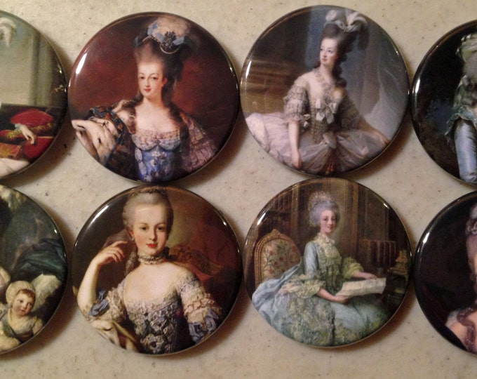 8 Marie Antoinette fridge magnets, or pinbacks with vintage pics of Marie Antoinette Several Sizes/Styles available.
