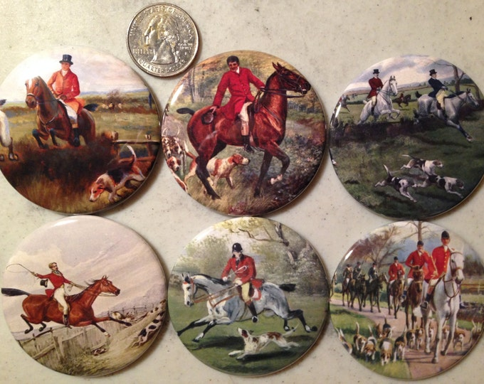 6 Fox Hunting, Equestrian, Hound dog Fridge Magnets or Pinback buttons, each 2.25 inches