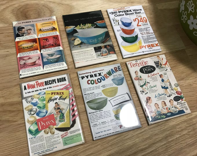 Pyrex Fridge magnets 2x3 inch Vintage Pyrex ads Set 1