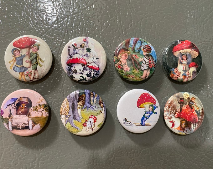 8 Mushrooms Fantasy Buttons or Pinback Buttons, flatbacks, vintage Pictures Gnomes.  You choose the size!
