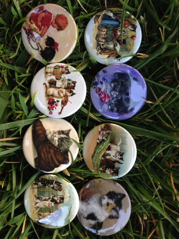 8 Kitten Fridge magnets or Pinback buttons with vintage pictures of kittens, Cats. Each 1.5 inch in size