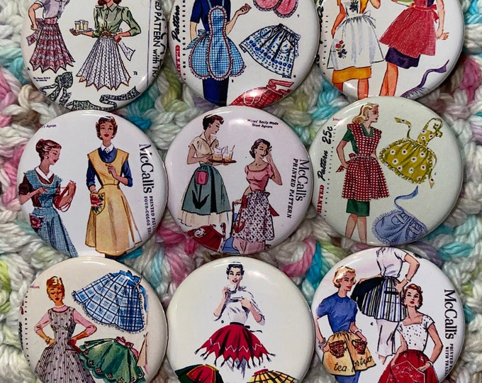 9 Apron Buttons available as pinbacks, flatbacks, magnets, and more.  Many sizes to choose from. Set 2