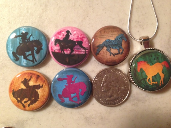 6 horses cowboy cowgirl rodeo flatback buttons and 1 Magnetic Interchangeable pendant and chain Set 4