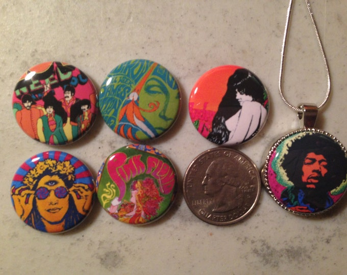 1 Magnetic Interchangeable pendant, with 6 flatback buttons with pictures of 60's Retro, Hippie, Hendrix