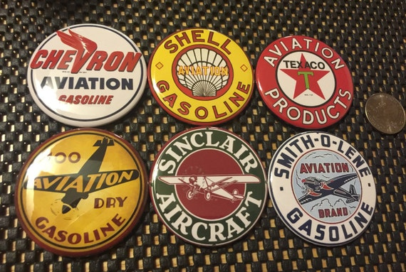 6 Aviation signs, Pin-back buttons or Magnet Buttons. Several sizes/styles available