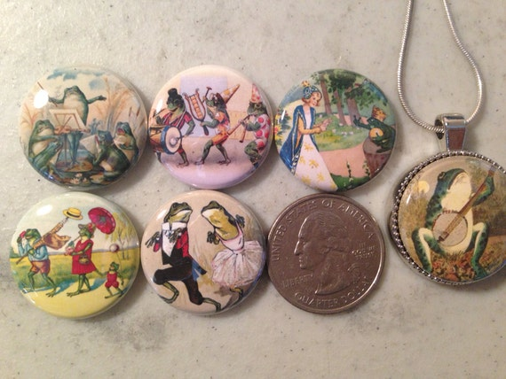 1 Magnetic Interchangeable pendant, with 6 flatback buttons with pictures of frogs and toads set2