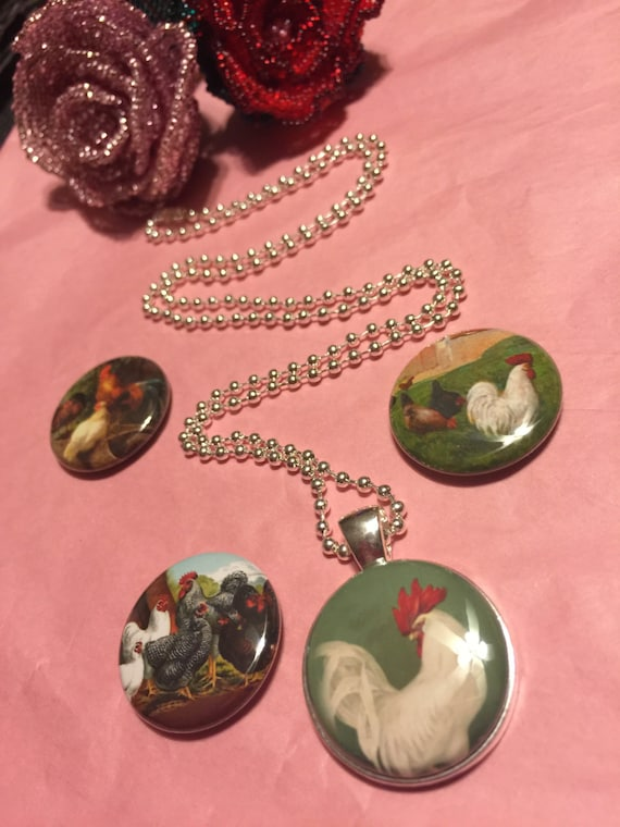 4 Roosters and Chickens Magnetic interchangeable Necklace or Bracelet