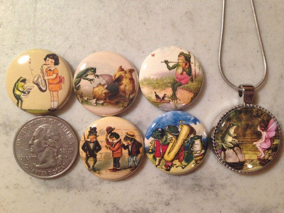 Magnetic Interchangeable pendant, with 6 flatback buttons with pictures of vintage frog and toad