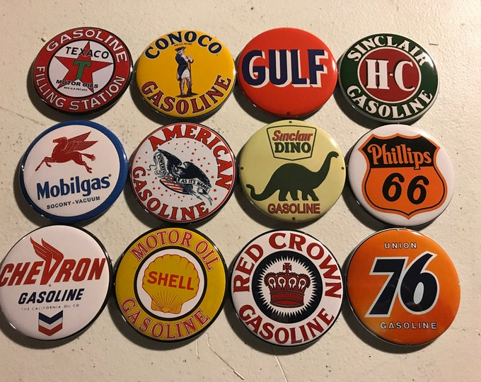12 Gas Station Sign buttons with pictures of vintage gas station signs