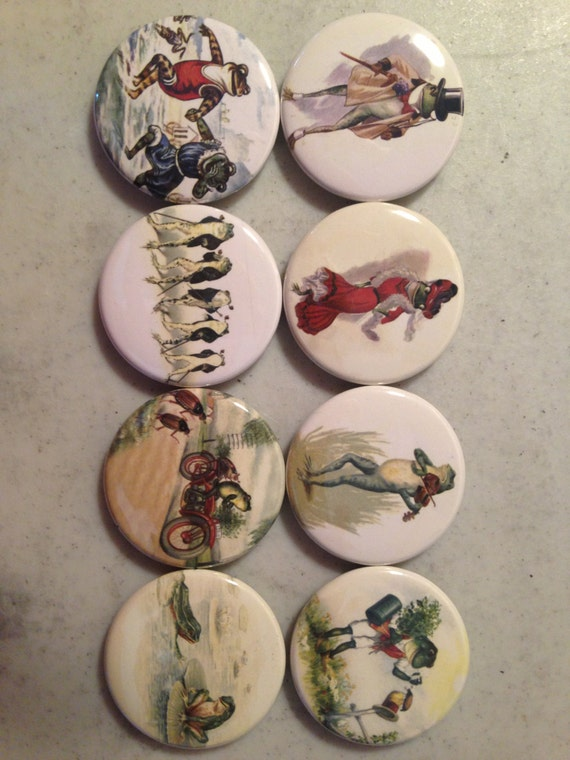 8 Frog fridge magnets, toads, frogs, reptiles, SET 5 with vintage pictures of frogs and toads