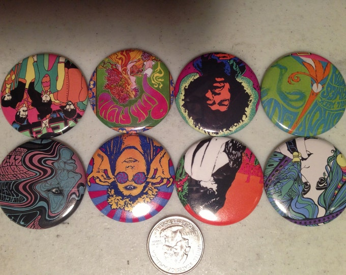 8 60's Retro Pinback Buttons or fridge magnet buttons, vintage 60's posters. You choose the size!