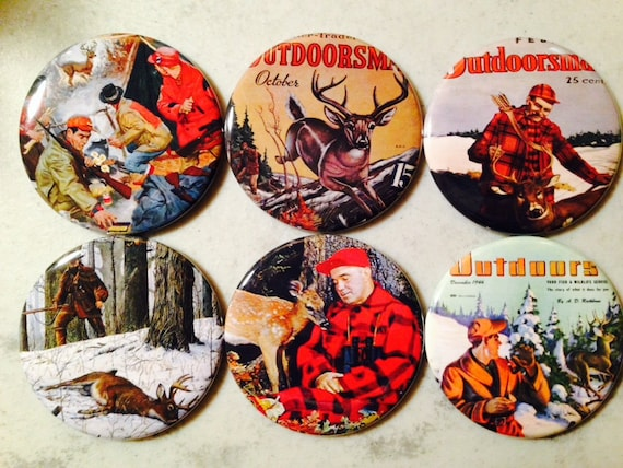 6 Hunting buttons with vintage pictures,  Pinback buttons or Magnet Buttons. Several sizes/styles available