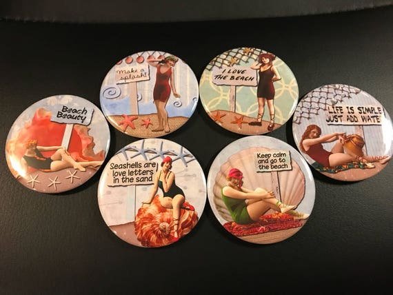 6 Beach Ladies Pinbacks or Magnet Buttons. Set 3.  Several sizes/styles available