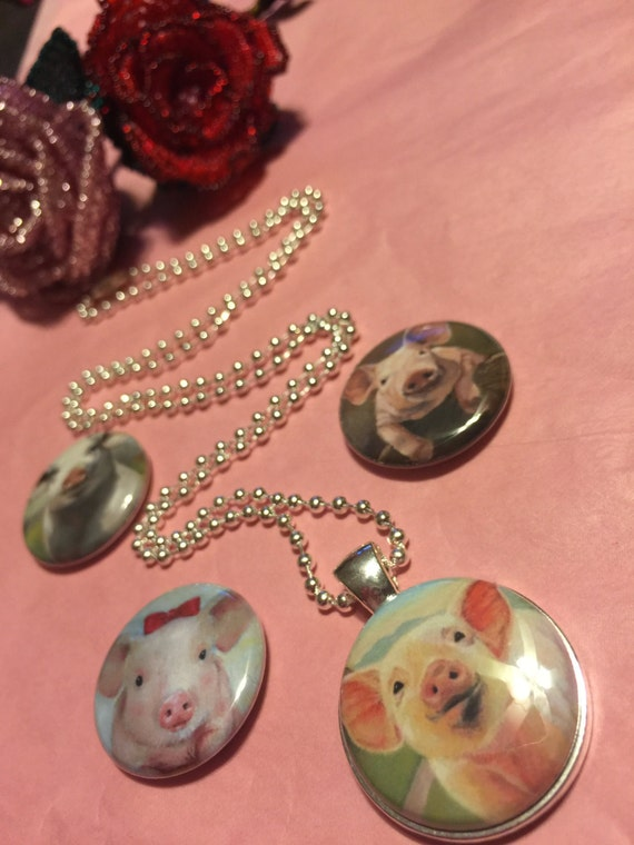 4 Pigs Hogs Piggy Magnetic interchangeable Necklace or Bracelet