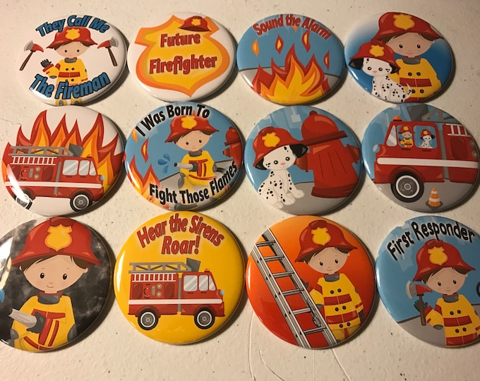 Firefighters Party Favors fridge magnet, flatback or pinback buttons! Choose hair color, gender, button sizes and styles.