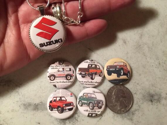 6 Suzuki Samurai buttons and 1 Magnetic interchageable Pendant & chain Set 1,