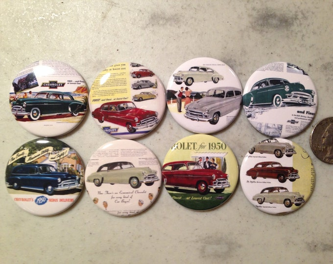 8 1950 Chevy buttons available as magnet buttons, pinbacks, flatbacks and more. Many sizes to chose from (SET 2)