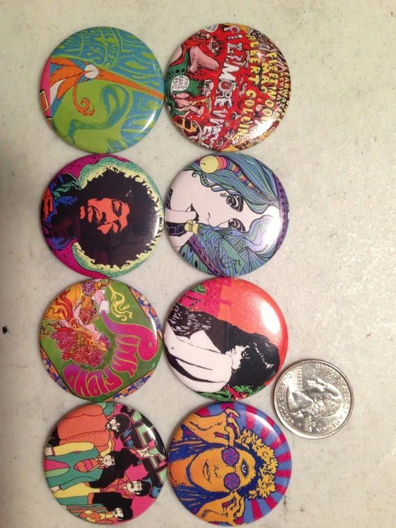8 retro 60's poster Buttons, available as pinbacks, flatbacks, fridge magnets and more.  Many sizes and styles to choose from. Set2.
