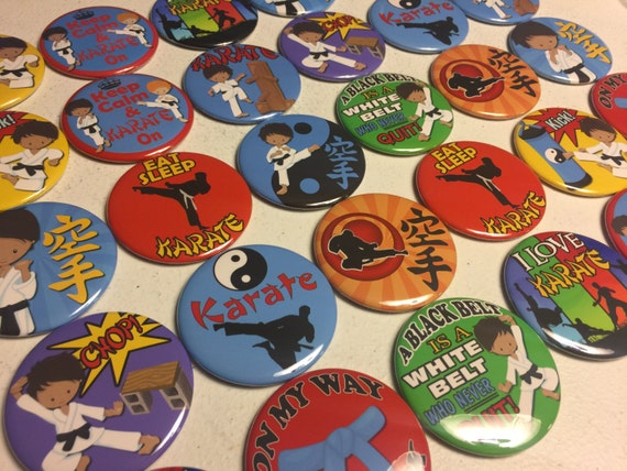 Karate, Martial Arts Pinbacks, Flatbacks or Fridge magnet buttons Party Favors, boys and girls Set of 20 or Set of 24 see description