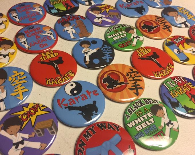 Karate, Martial Arts Pinbacks, Flatbacks or Fridge magnet buttons Party Favors, boys and girls Set of 20 or Set of 24 see description