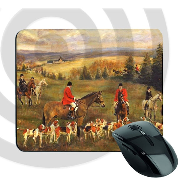 Mousepad with Pictures of Equestrian Fox Hunting
