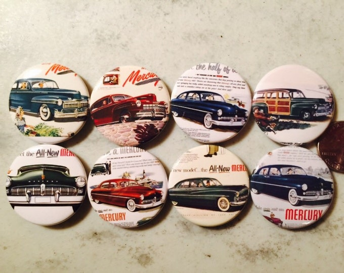 8 Mercury Buttons Vintage Retro Set 2 Several Button Sizes and Styles