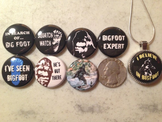 NEW! Bigfoot Pendant!!  8 Bigfoot, Sasquatch, Yeti flatback buttons and 1 Magnetic Interchangeable Pendant
