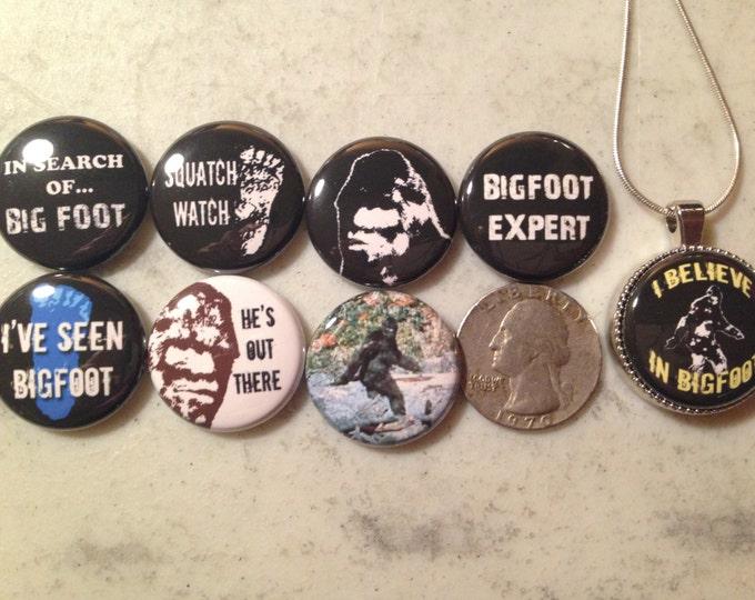 NEW! Bigfoot Pendant!!  8 Bigfoot, Sasquatch, Yeti flatback buttons and 1 Magnetic Interchangeable Pendant