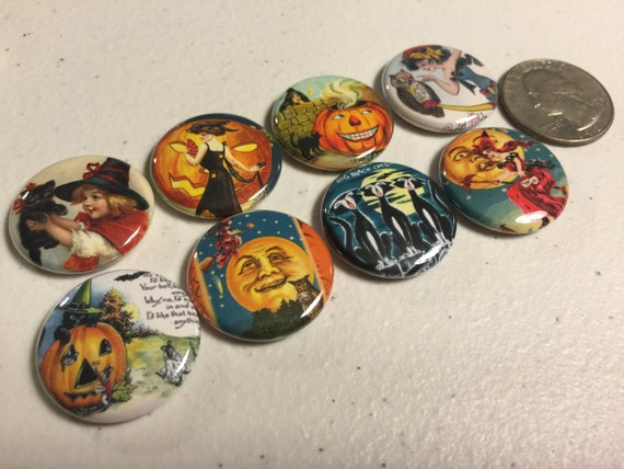 8 Halloween Fridge Magnet buttons, pinbacks or flatbacks. Set 4 w/Vintage pictures. Several sizes/styles to choose from.
