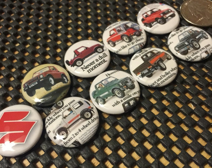 """8 Suzuki Samurai buttons plus with Vintage pictures in several button sizes and styles.  Includes an exta """"S"""" logo button."""