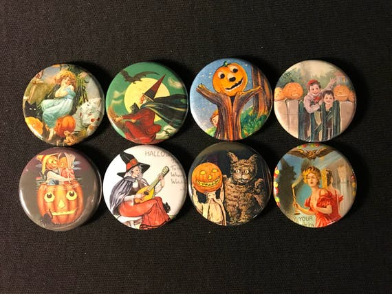 8 Halloween Fridge Magnet buttons, pinbacks, flatbacks Set 2 w/Vintage pictures, several sizes and styles to choose from