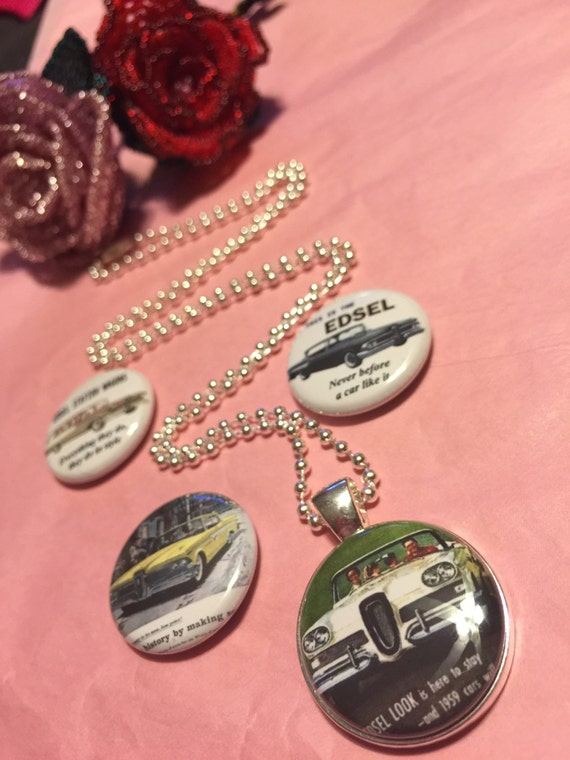 4 Ford Edsel buttons Magnetic interchangeable Necklace or Bracelet