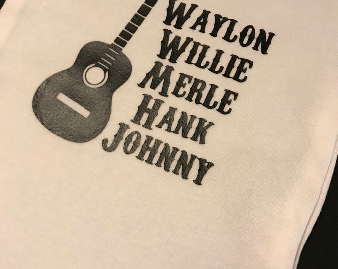 Country Western Baby Onesie, Waylon, Willie, Merle, hank, Johnny Onesies or Toddler Shirts
