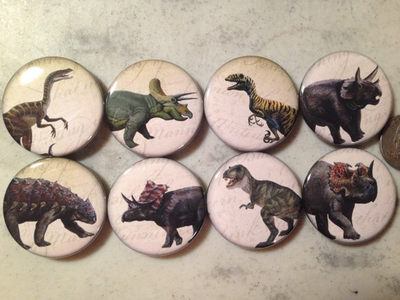 8 Dinosaur buttons, available as pinbacks, flatbacks, fridge magnets and more.  Many sizes and styles to choose from. Set 3