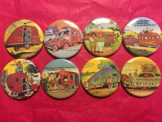 8 Vintage Trailer Buttons, set2 available as pinbacks, flatbacks, fridge magnets and more.  Many sizes and styles to choose from. Set2.