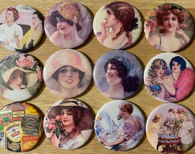 12 Tea Party, Party favors.  Your choice of pinbacks, flatbacks, fridge magnets or Mirror back.  Several Sizes available