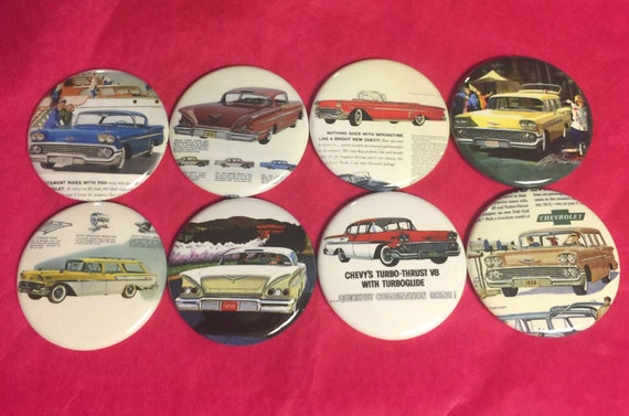 8 1958 Chevy Impala, Brookwood Bel Air Buttons Vintage Retro Set 1 Several Button Sizes and Styles