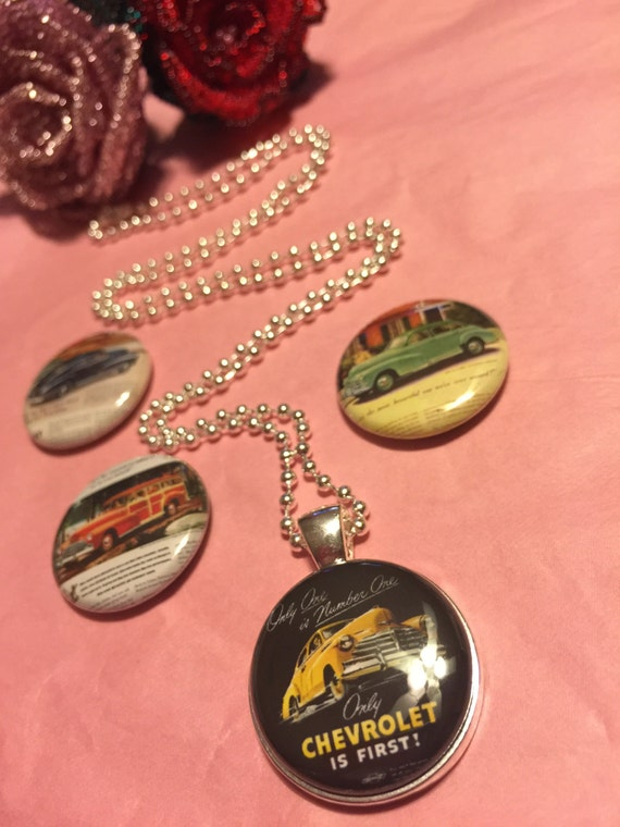 4 Chevy buttons Magnetic interchangeable Necklace or Bracelet