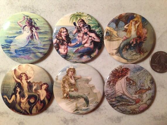 6 Vintage Mermaid Fridge Magnets Set 2.  Choose your size/style.