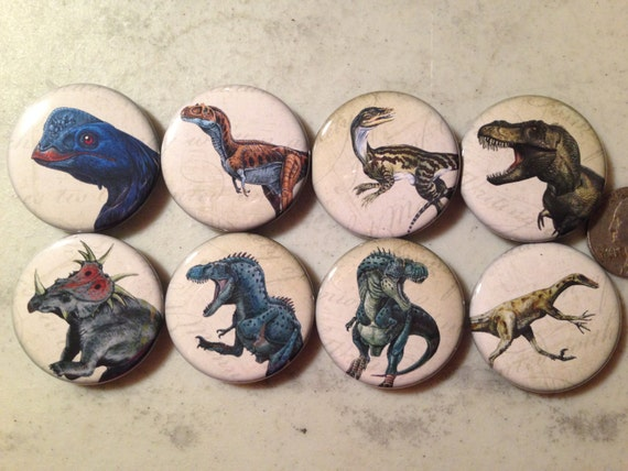 8 Dinosaur buttons, available as pinbacks, flatbacks, fridge magnets and more.  Many sizes and styles to choose from. Set 1