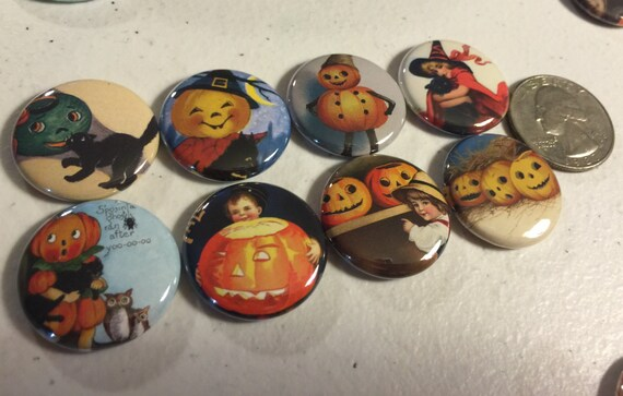 8 Halloween Fridge Magnet buttons, pinbacks, flatbacks Set 3 w/Vintage pictures each 1.5 inch.