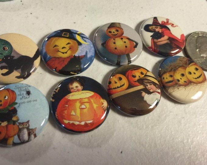 8 Halloween Fridge Magnet buttons, pinbacks, flatbacks Set 3 w/Vintage pictures each 1.5 inch.