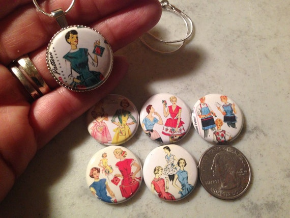 1 Magnetic Interchangeable pendant, with 6 flatback buttons with pictures of Vintage Aprons Patterns