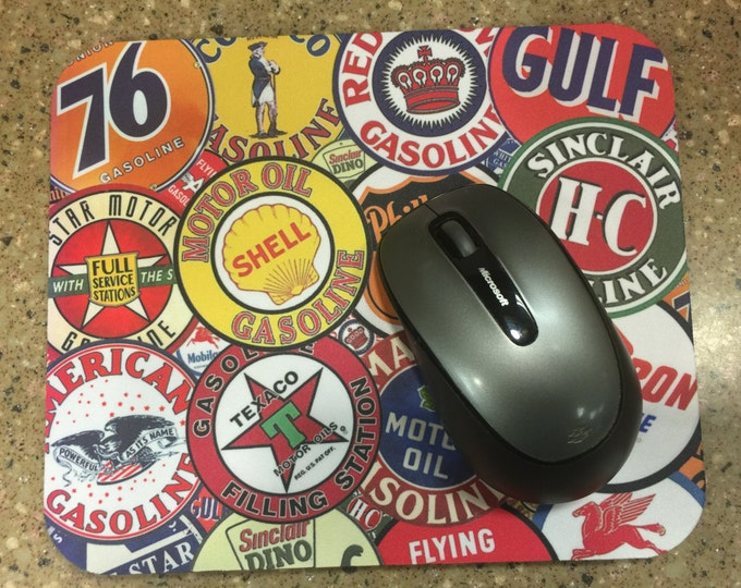 Mousepad with Pictures of Vintage Gas Station signs or Customize with your own artwork or picture