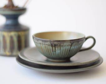 Vtg Løvemose Denmark - tea trio - cup & saucer and tea plate - GRAASTEN - Danish mid century pottery