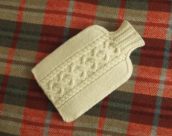 Knitted Hot Water Bottle Cover / Cosy  Vanilla Cream - EASTCOTE