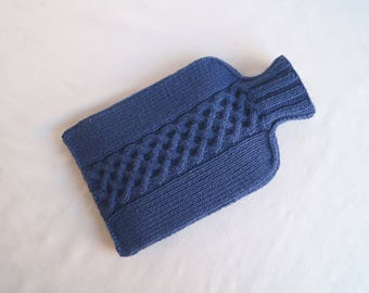 Hot Water Bottle Cover, Cosy, Hand Knit Royal Blue - BELMONT